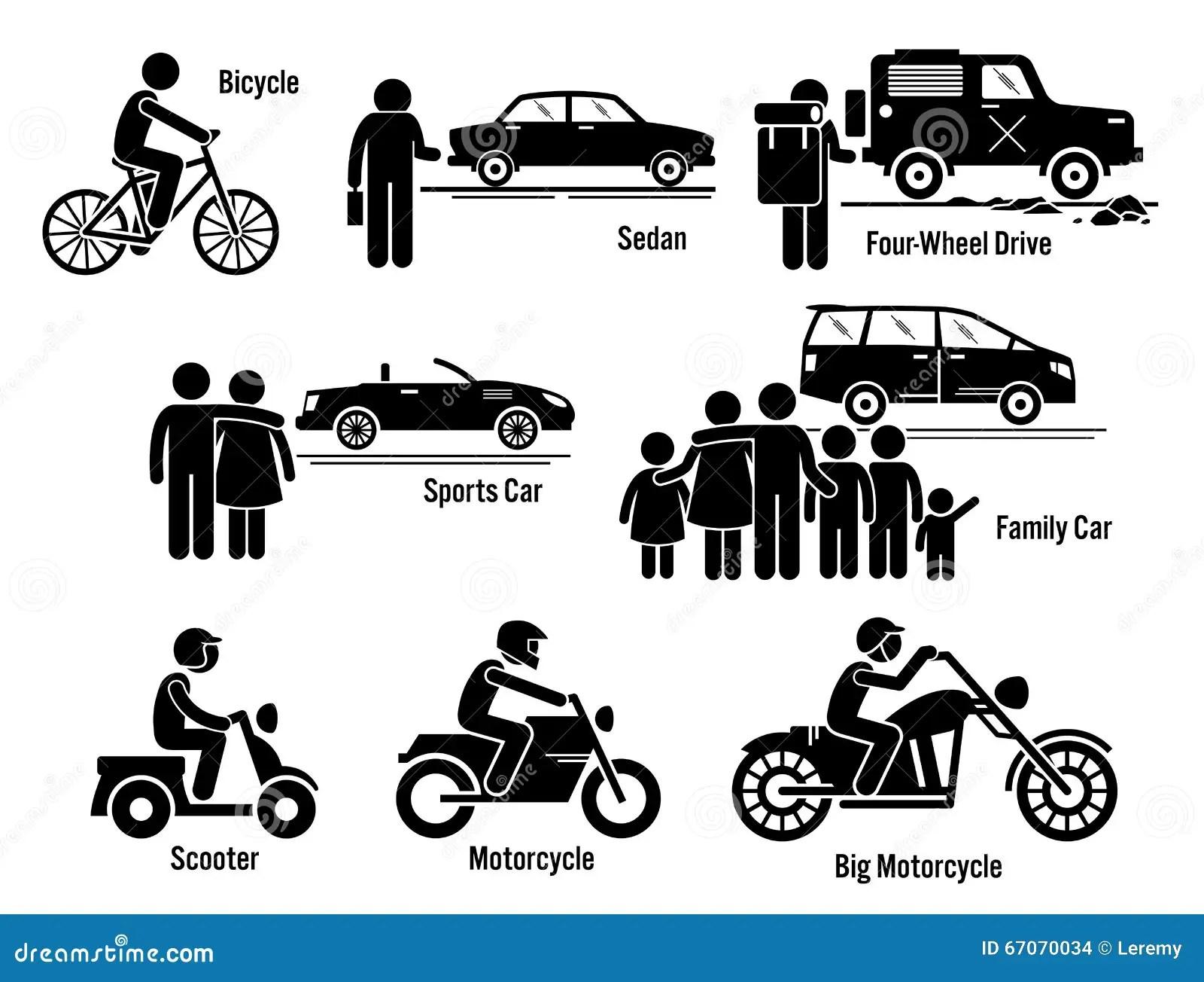 Land Personal Transport Transportation Vehicles Set