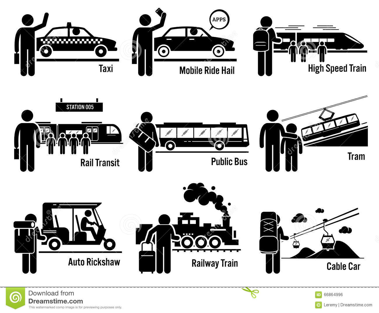 Land Public Transportation Vehicles And People Set Clipart Stock Vector