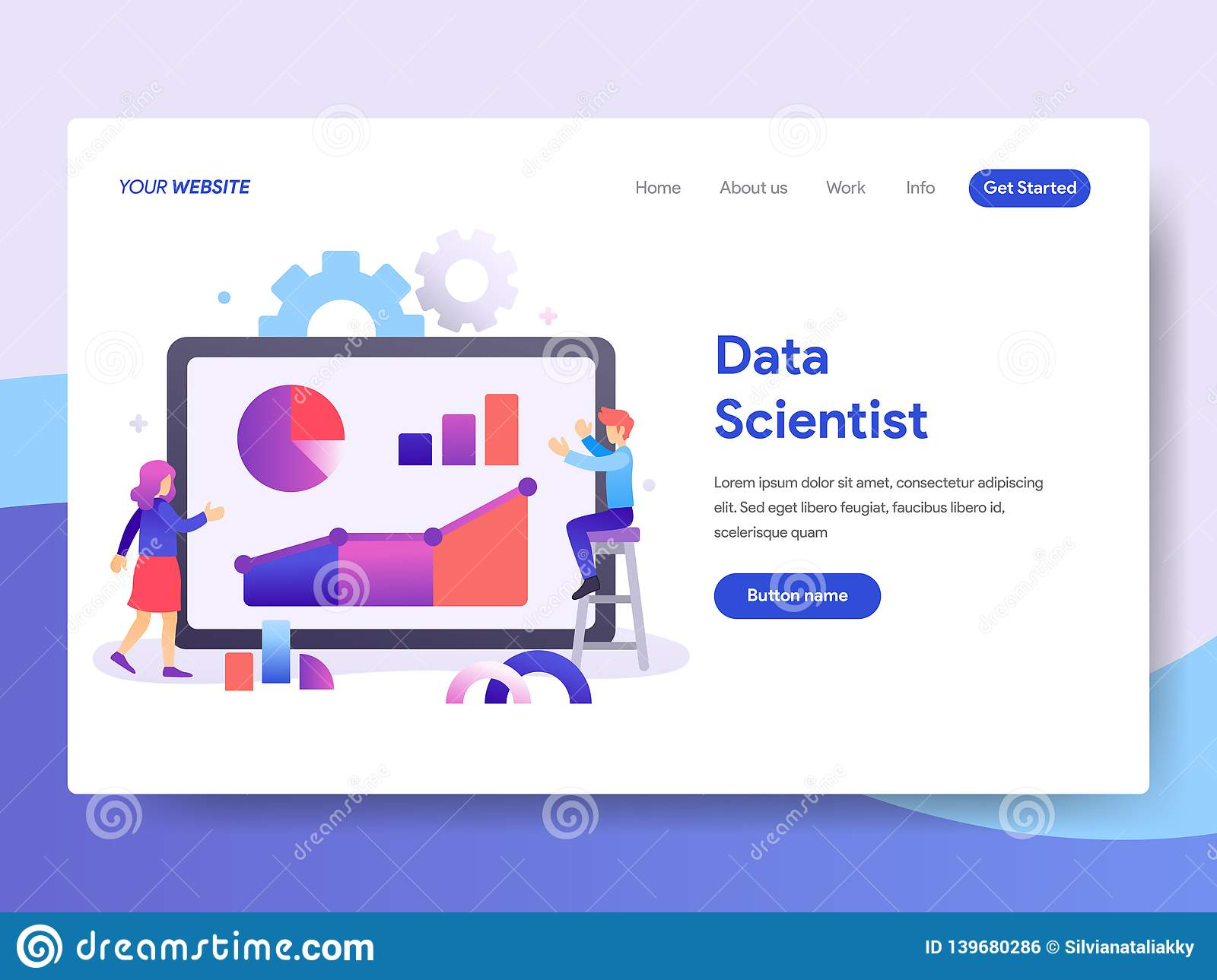 Landing Page Template Of Data Scientist Concept Modern Flat