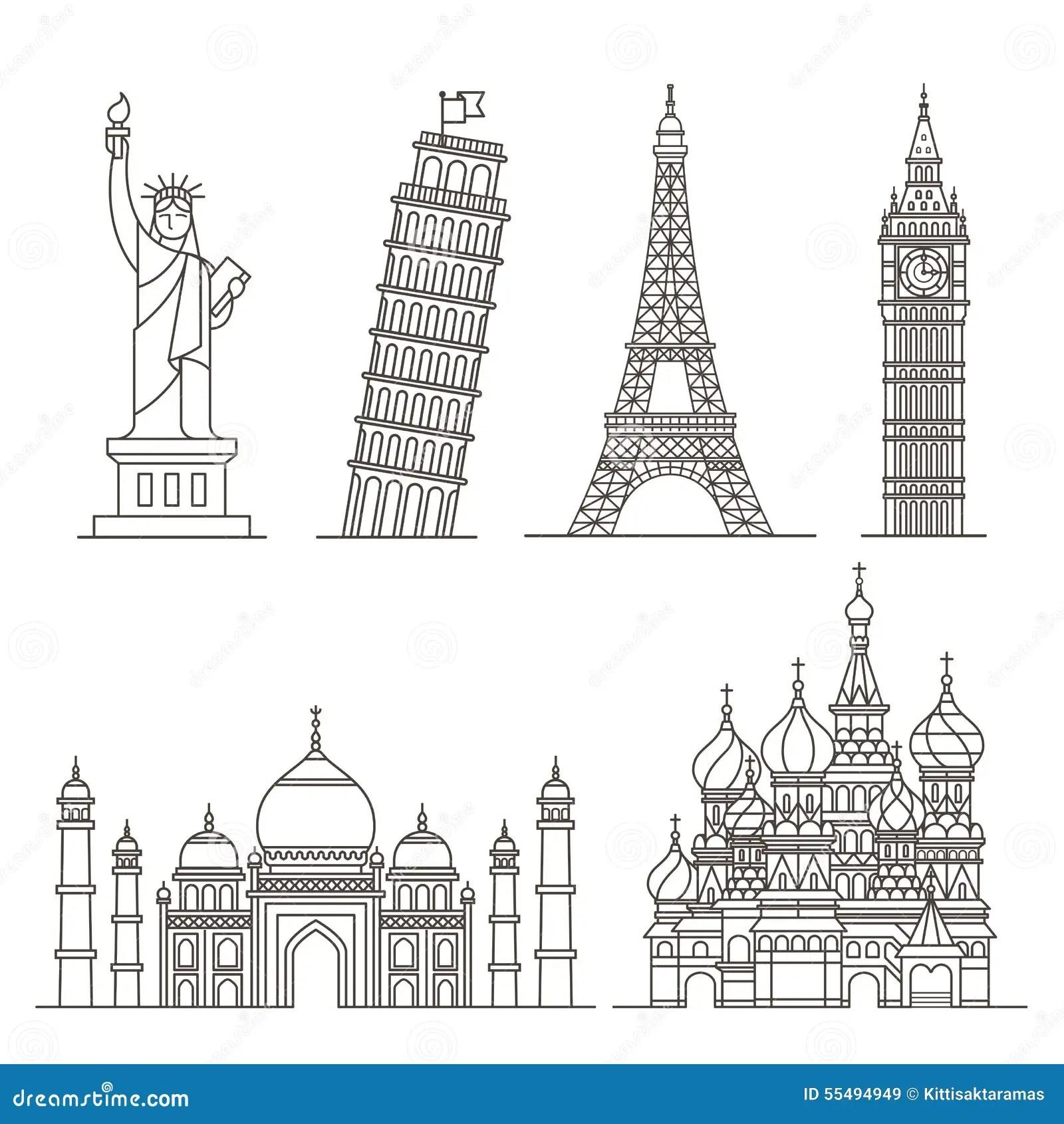 Landmark Icons Statue Of Liberty Tower Of Pisa Eiffel