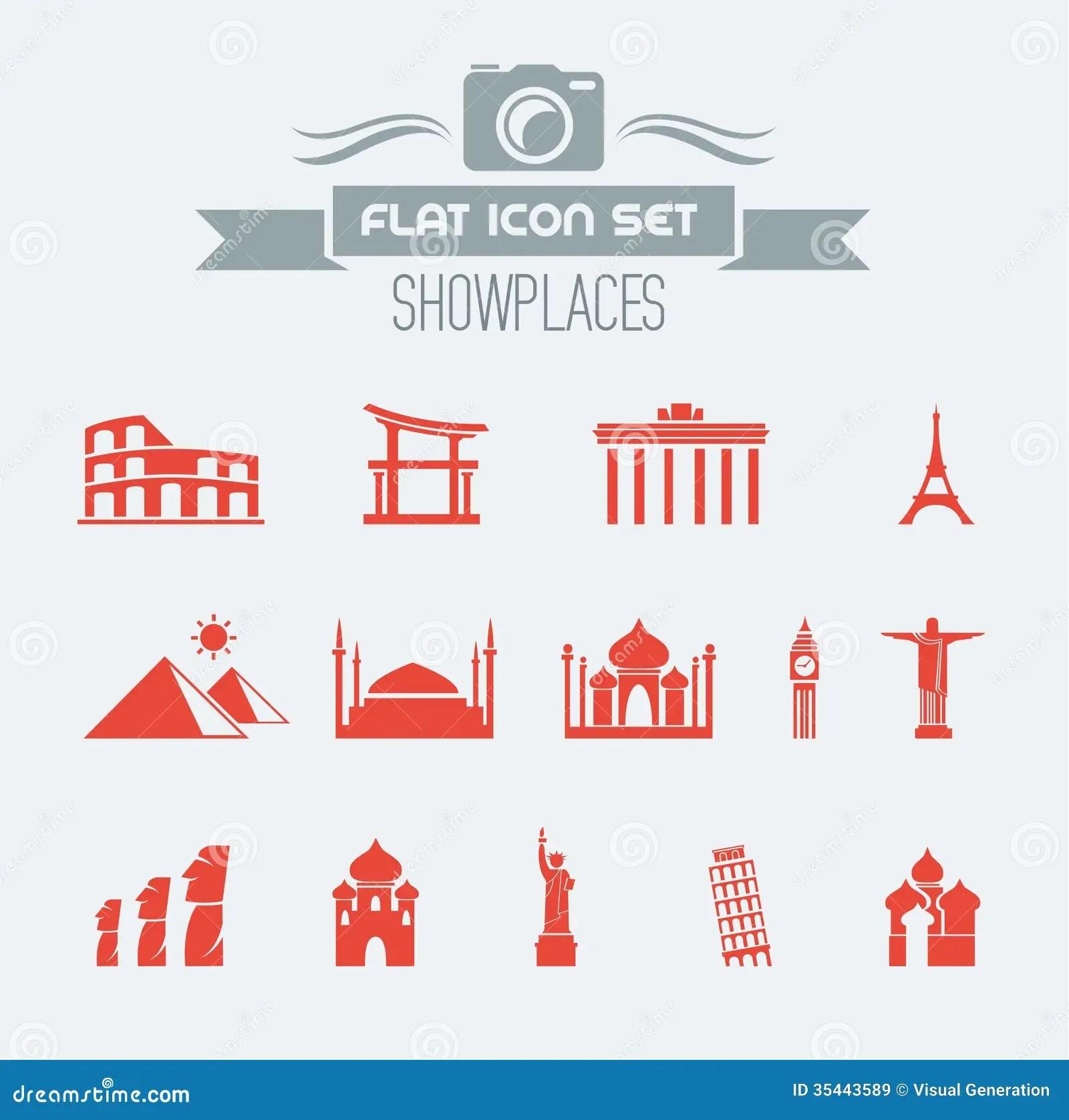 Landmarks Flat Icon Set Royalty Free Stock Images