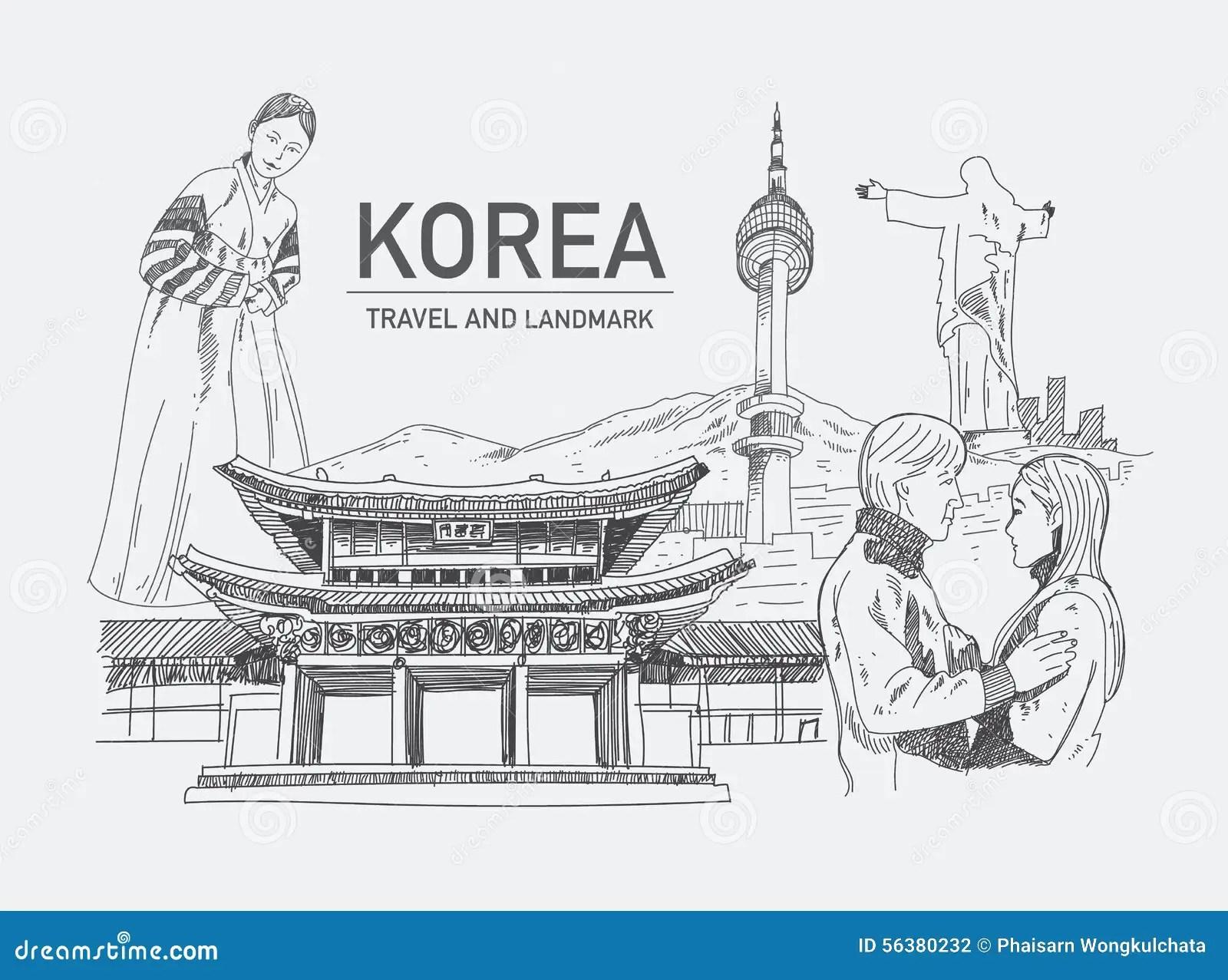 Landmarks In Korea Stock Vector Illustration Of Draw