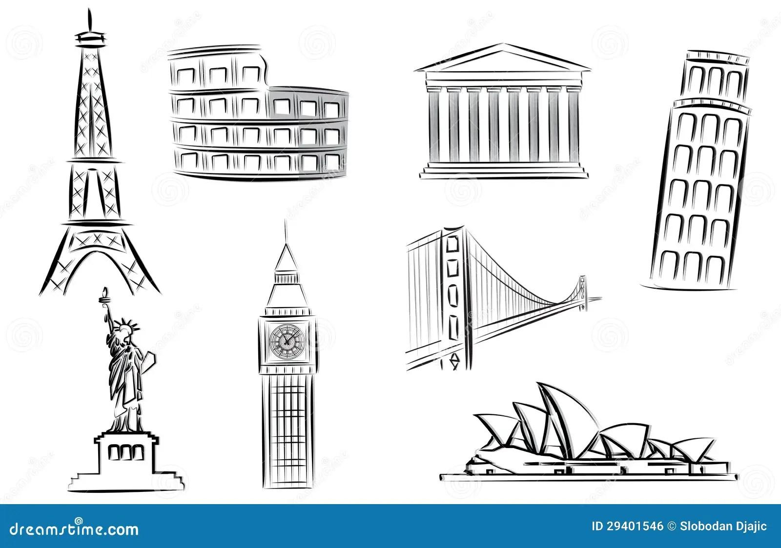 Landmarks Vector Illustration Editorial Photo
