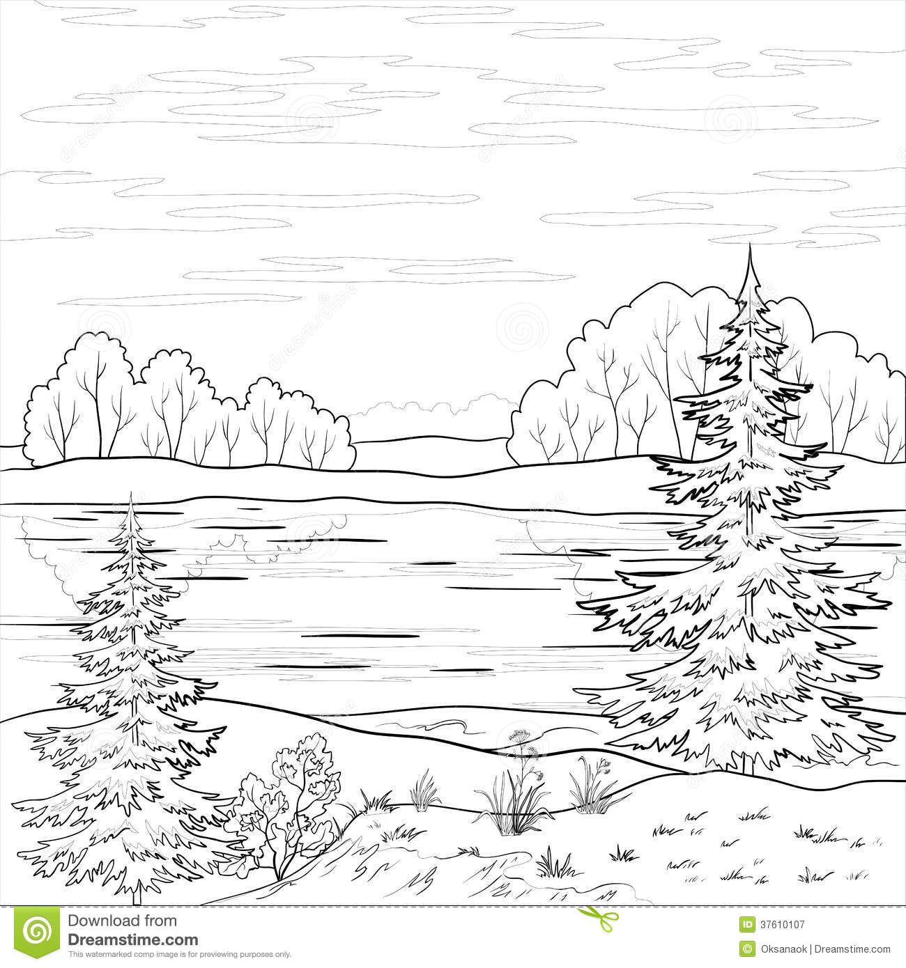 Landscape Forest River Outline Cartoon Vector