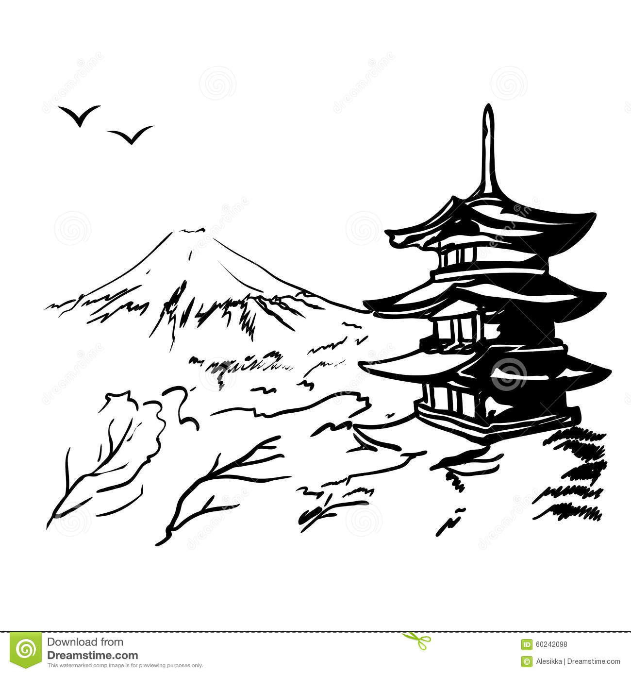 Landscape With Fuji Mount Sakura Tree And Japan Pagoda