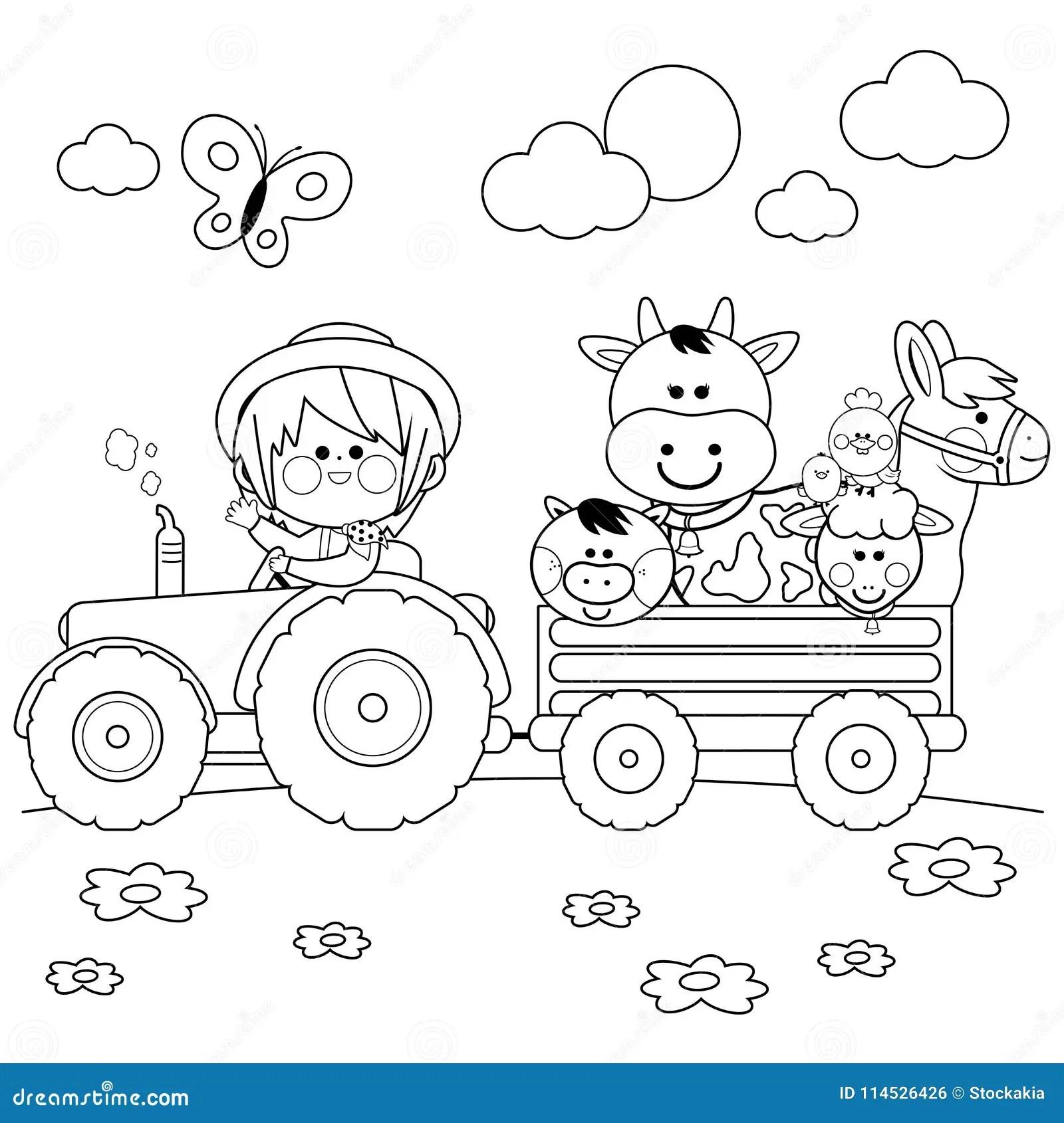 Landwirtjunge Der Einen Traktor Fahrt Und Vieh Tragt