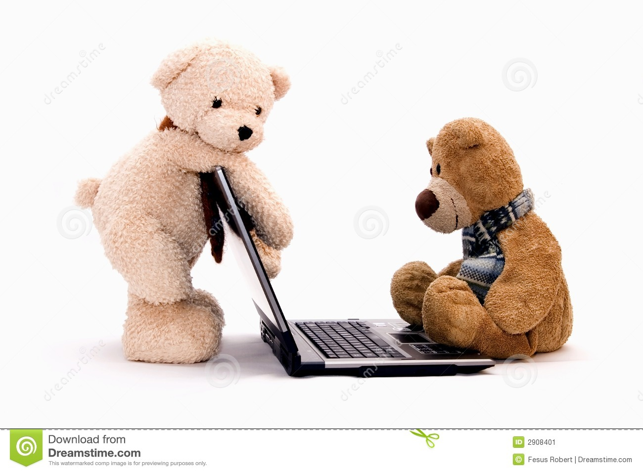 LAPTOP COMPUTER And TEDDY BEAR Stock Image Image 2908401