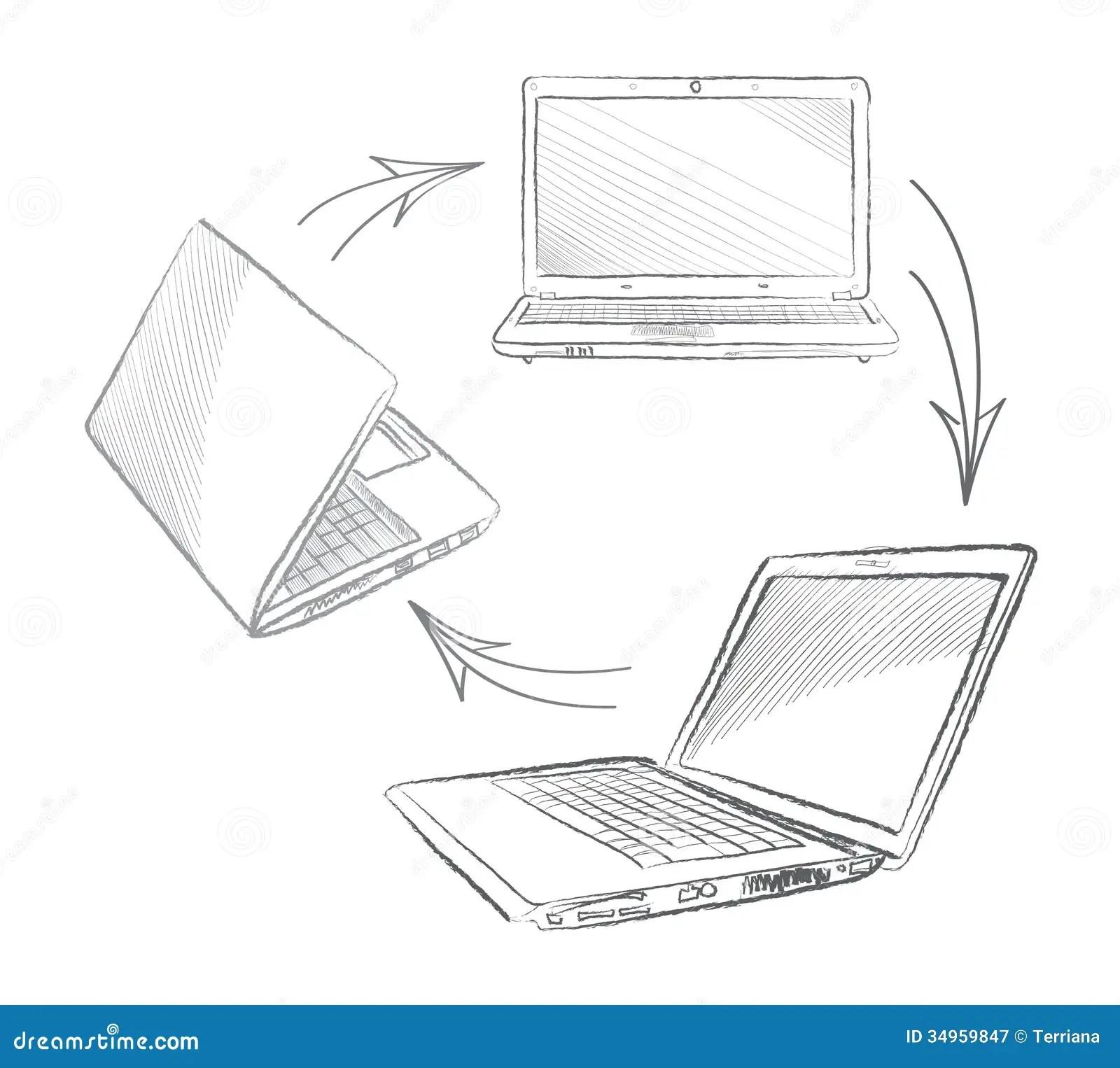 Laptop Set Computers Connection Stock Illustration