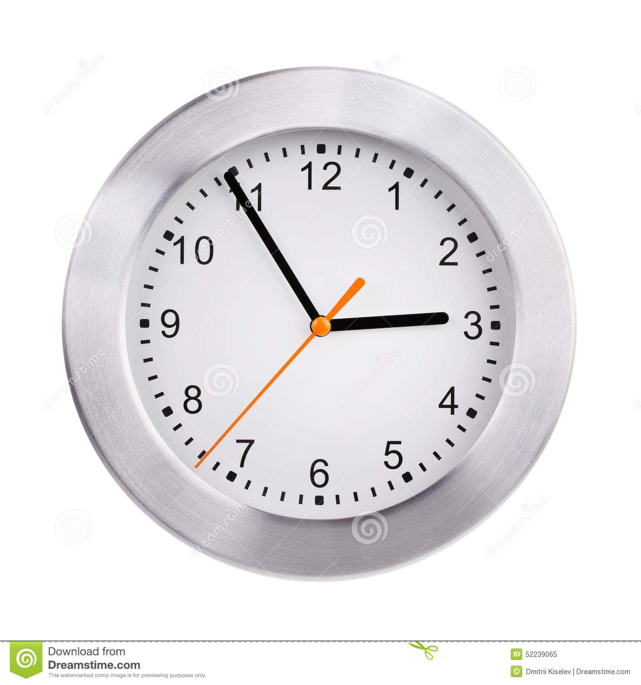 Large Clock Shows Five Minutes To Three Stock Image