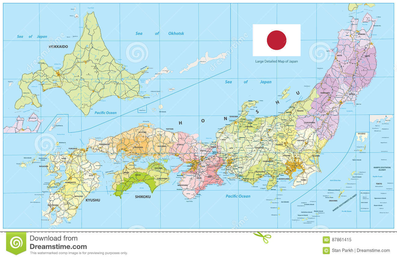 Large Detailed Map Of Japan Stock Vector