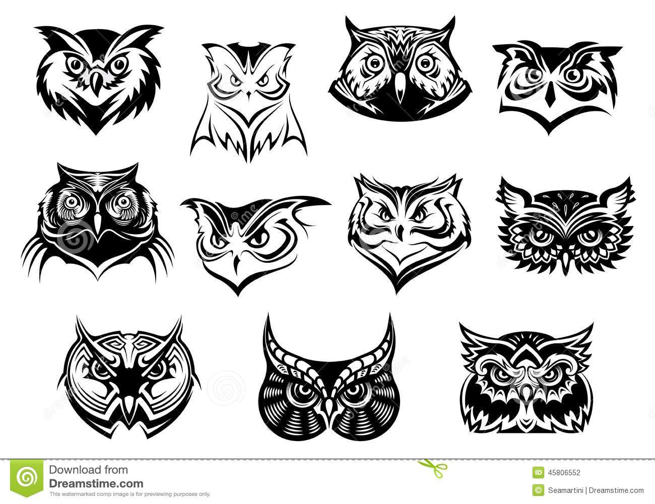 Large Set Of Black And White Owl Heads Stock Vector