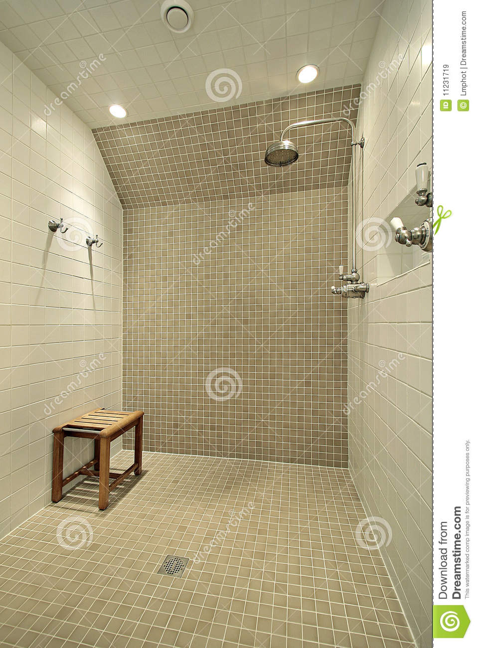 Large Shower With Bench Royalty Free Stock Images Image