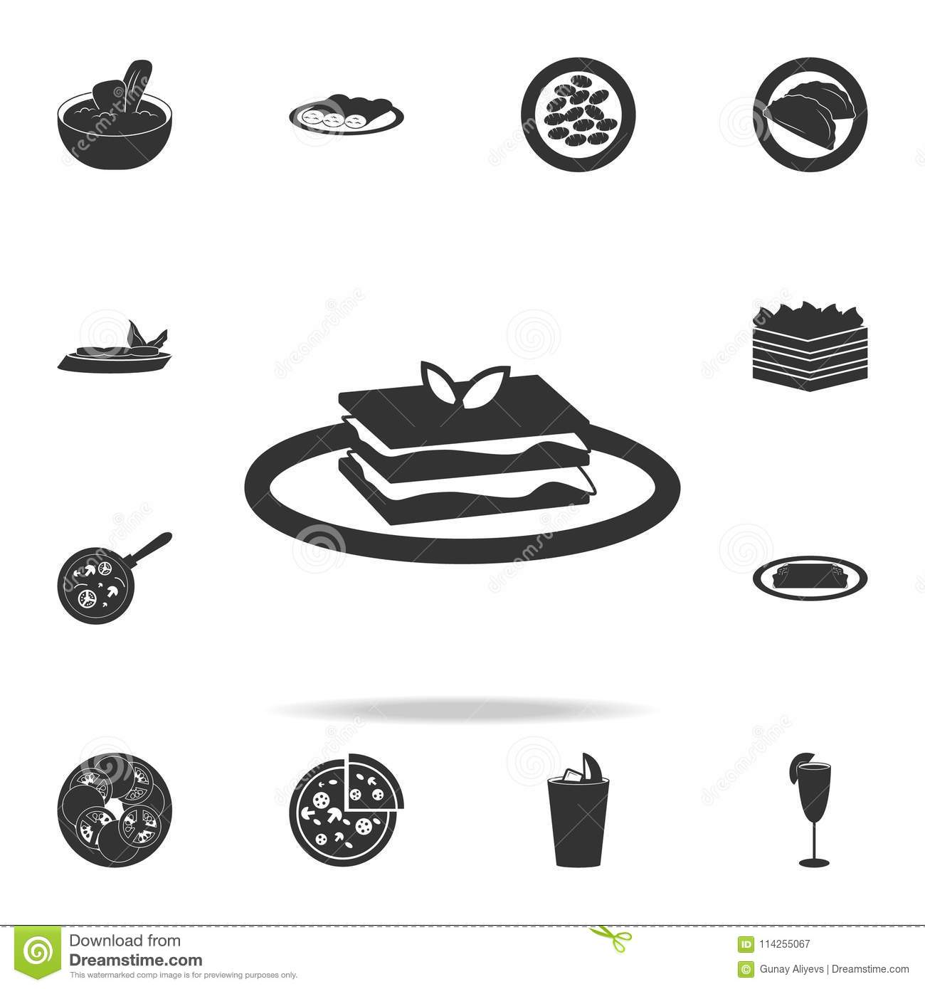 Lasagna Food Icon Vector Illustration