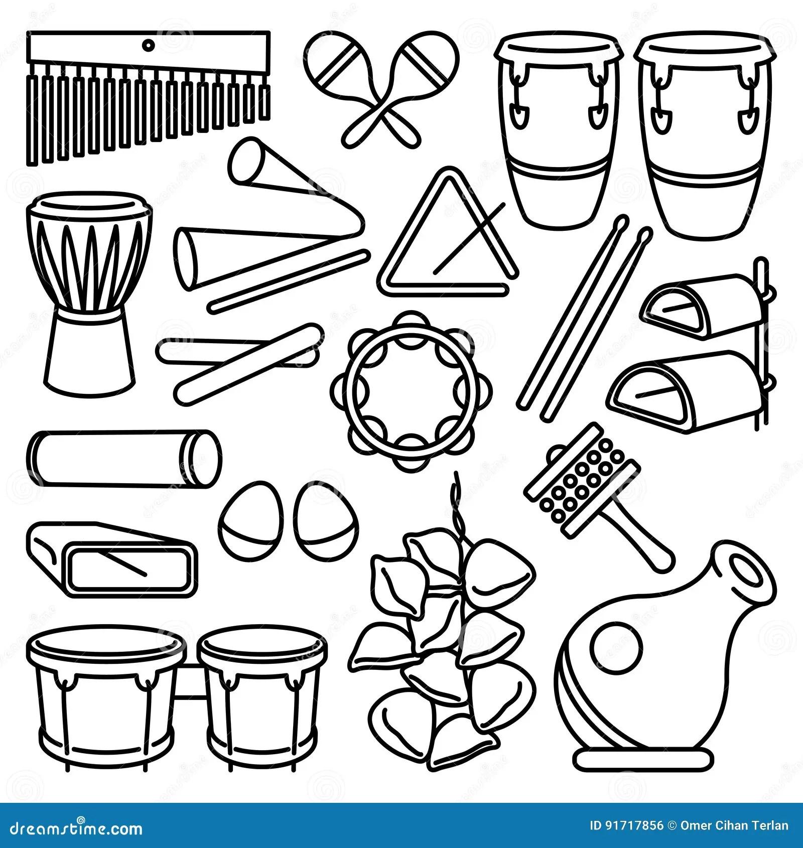Latin Percussion Instruments Icon Set Stock Vector