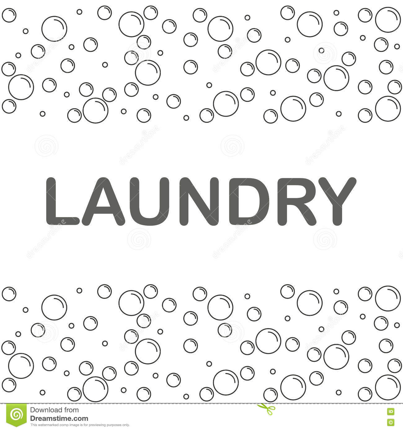 Laundry Banner Or Poster With Bubbles On A White