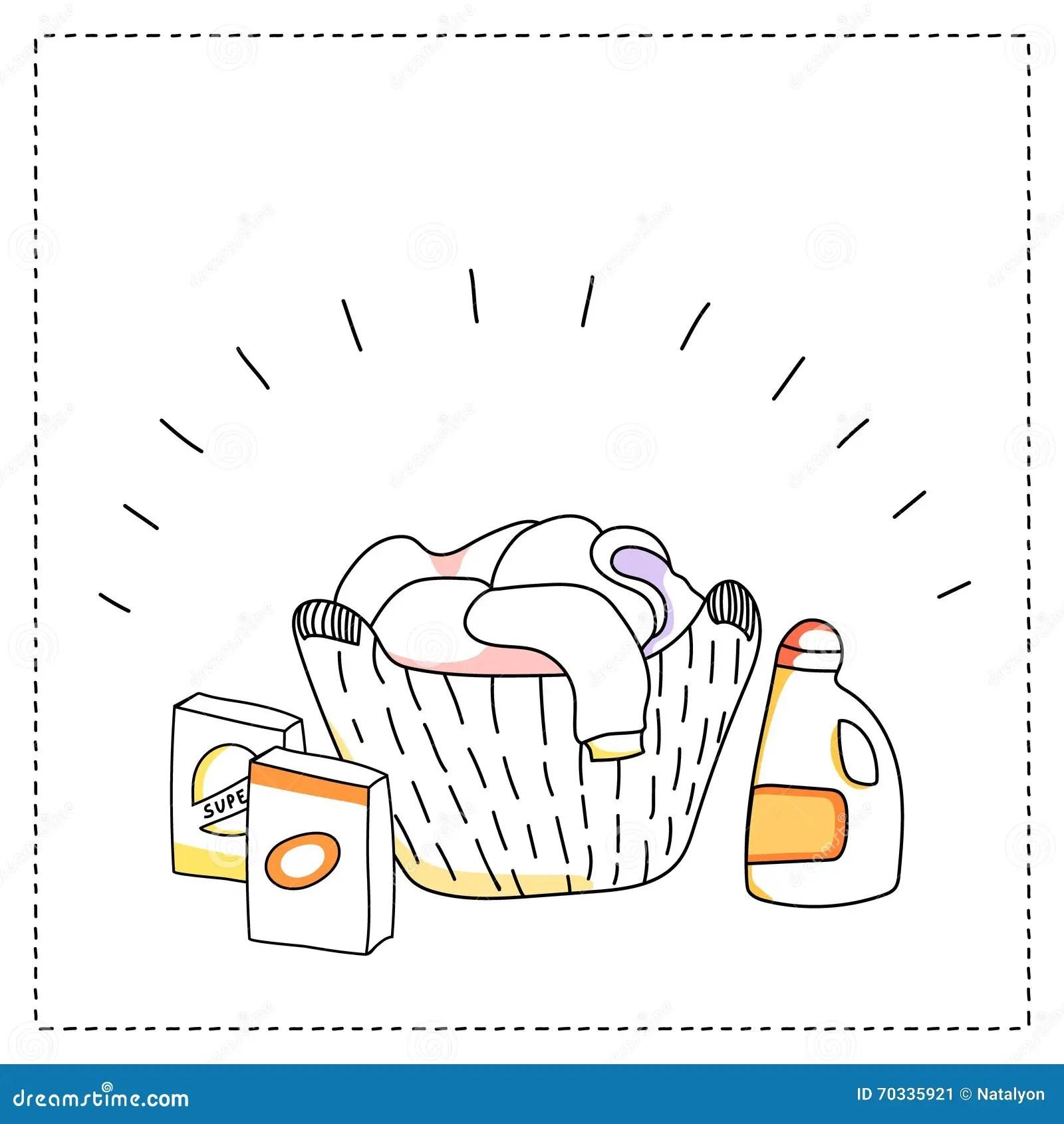 Laundry Basket Detergents Vector Illustration Stock