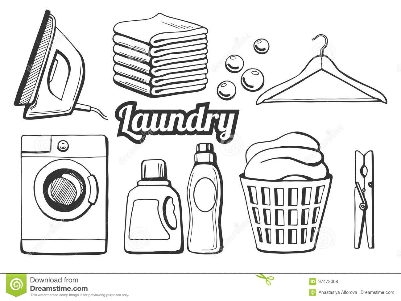 Laundry Icons Set Stock Vector Illustration Of Design
