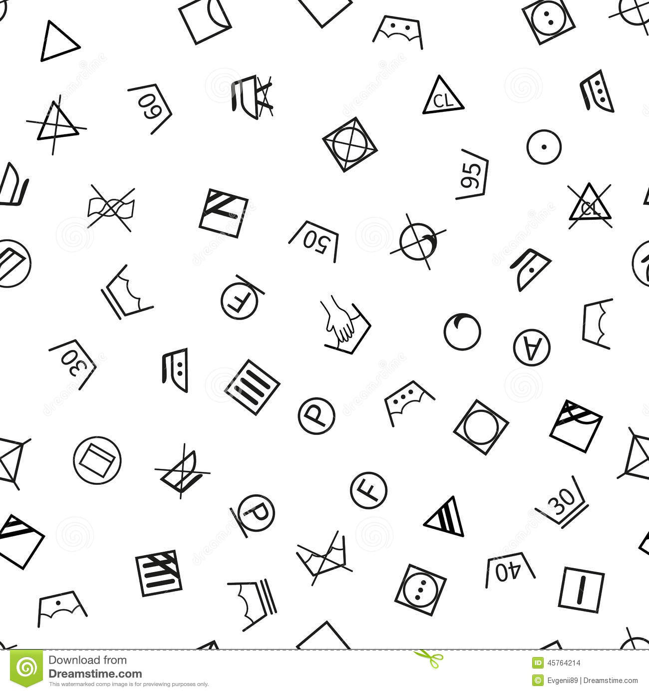Laundry Symbols On White Background Seamless Stock Vector