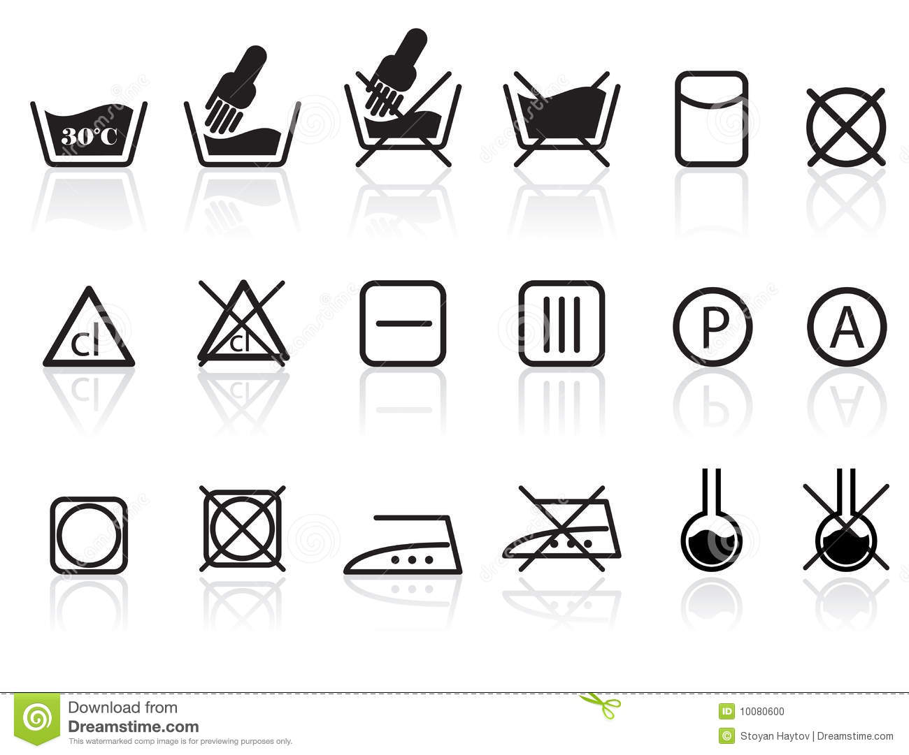 Laundry And Textile Care Symbols Stock Vector