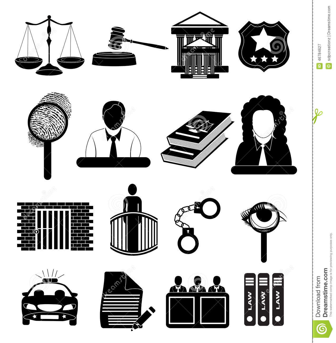 Law Court Judge Justice Icons Set Stock Illustration