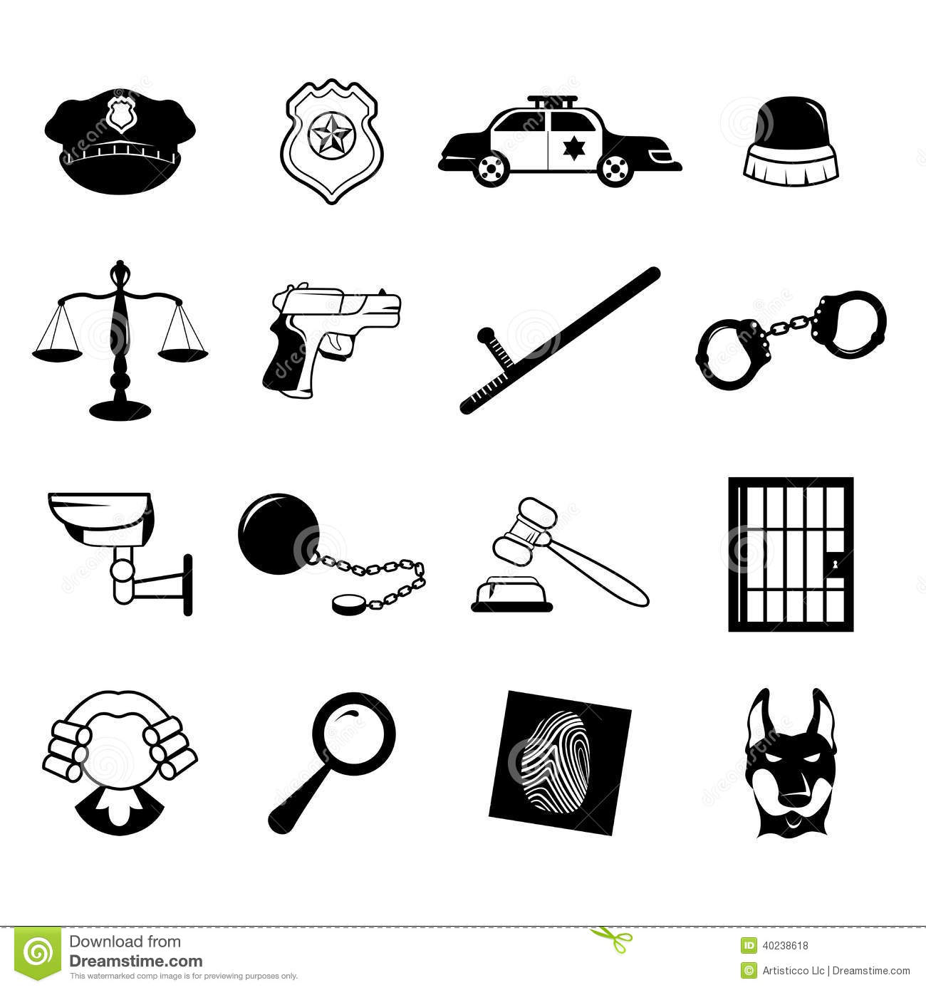 Law Enforcement Icons Stock Vector