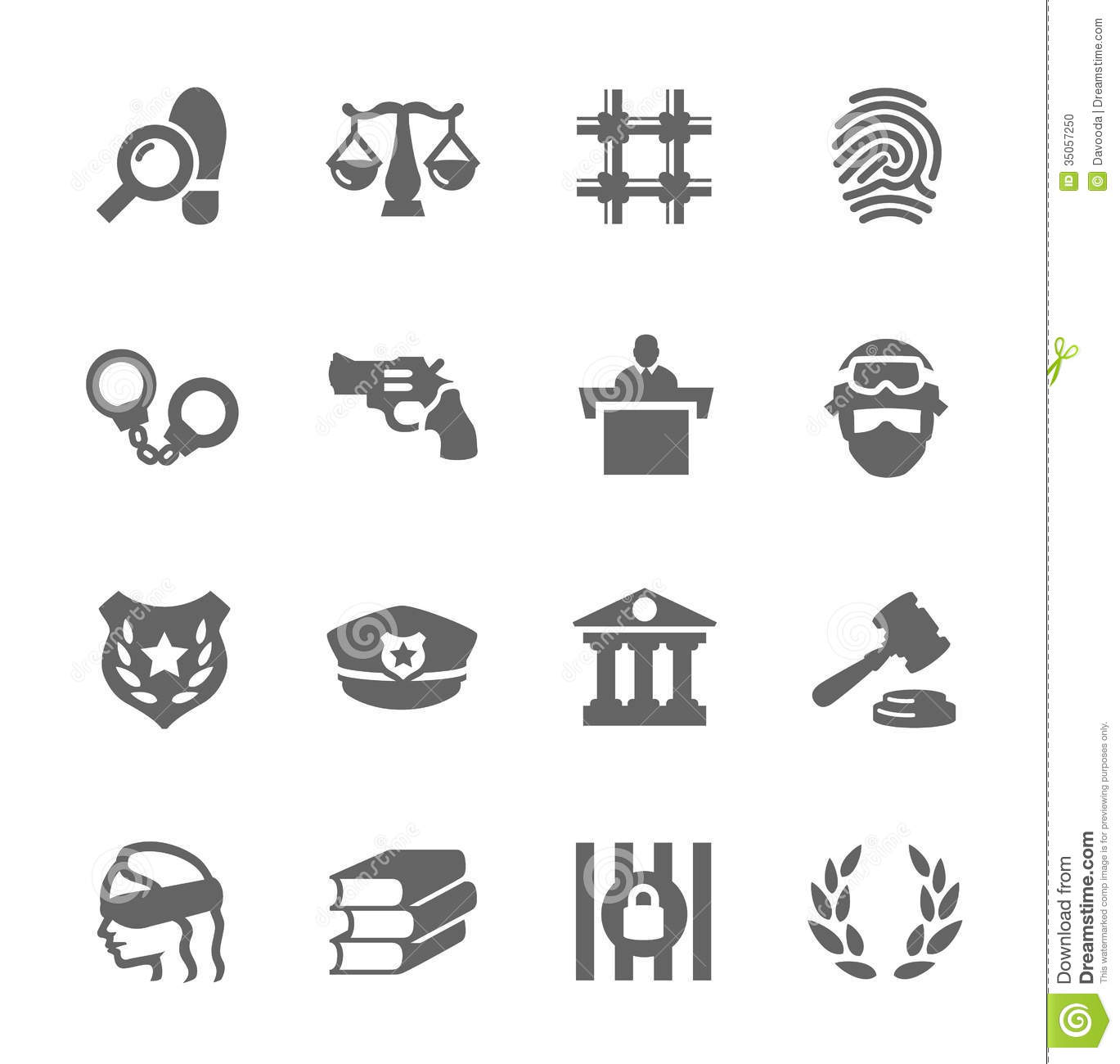 Law And Justice Icons Stock Vector Illustration Of