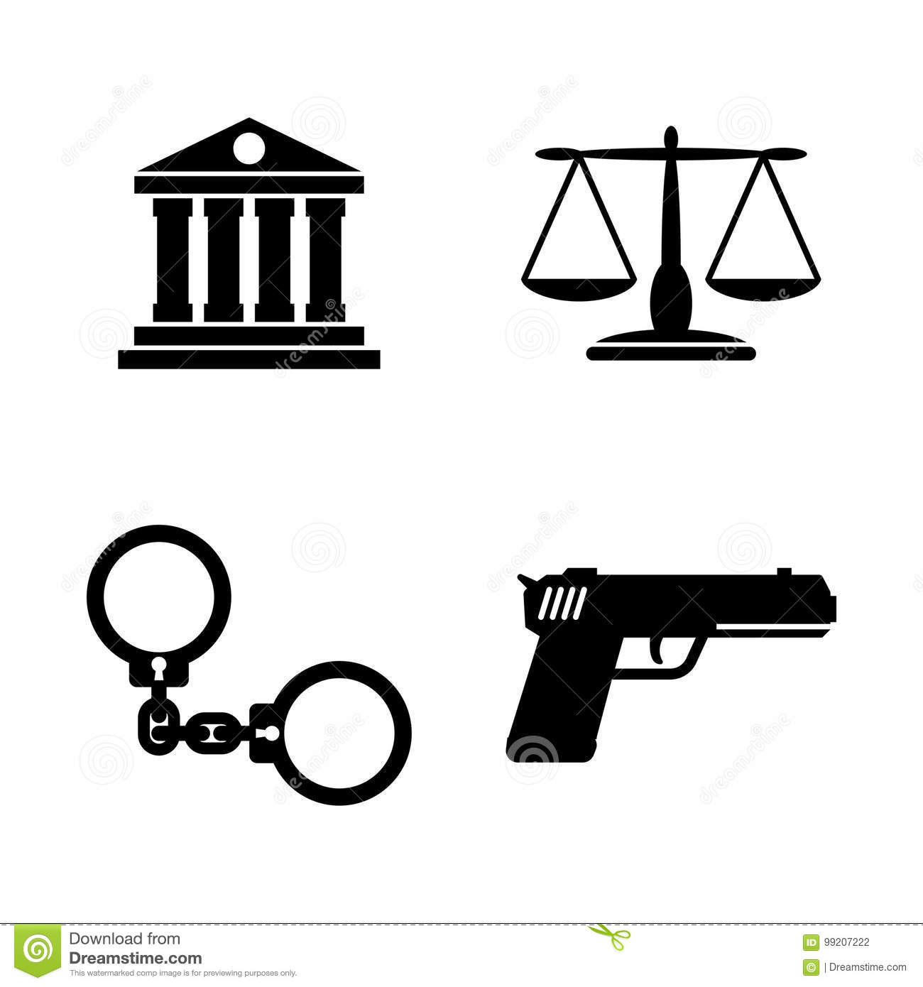 Scales Of Justice Set Icons Cartoon Vector