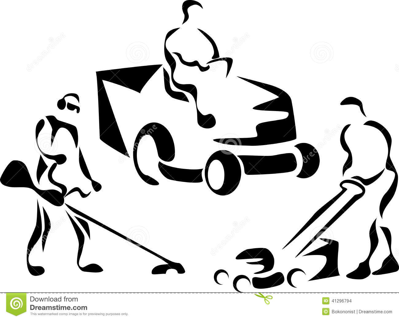 Lawnmower Stock Vector Illustration Of Push Cutting