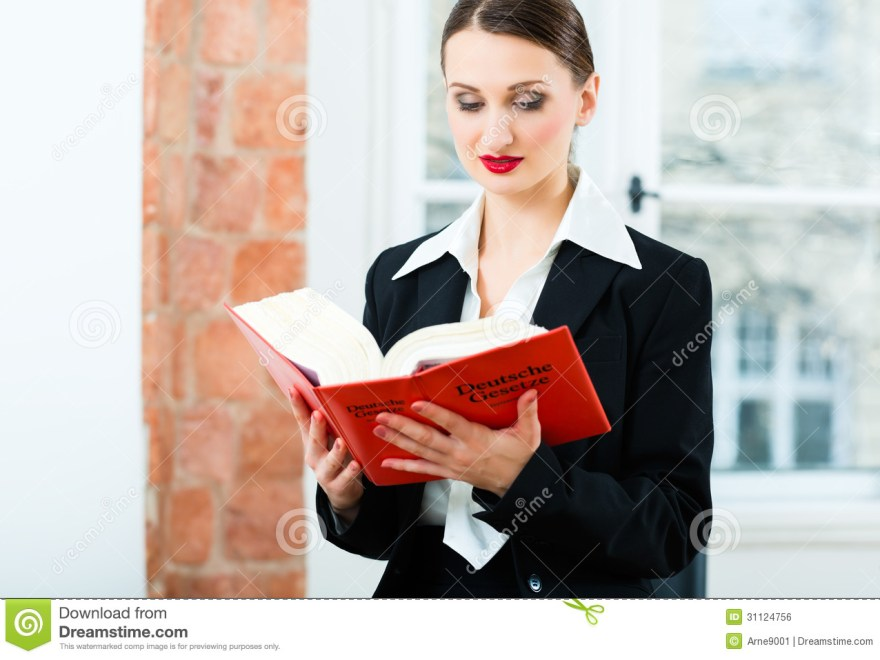 Lawyer In Office Reading Law Book Stock Photo Image Of