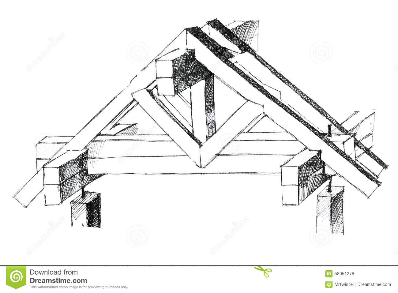 Layout Of A Roof Constructional Version Stock Illustration