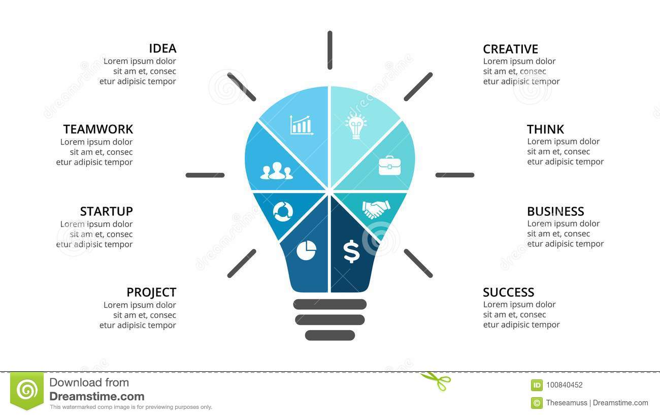 Vector Light Bulb Infographic Template For Diagram Graph