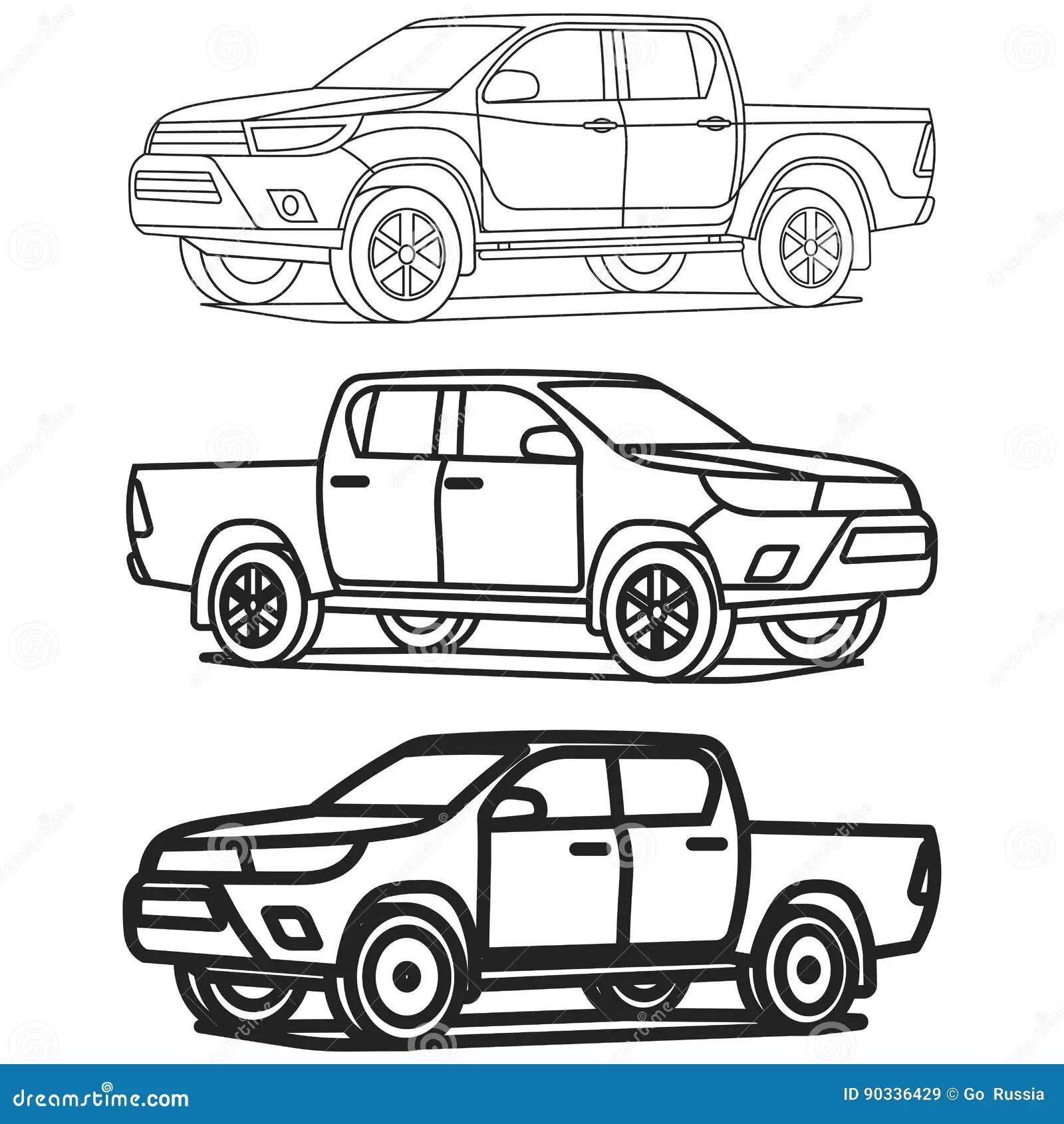 Le Contour De Camion Pick Up A Place Sur L Illustration