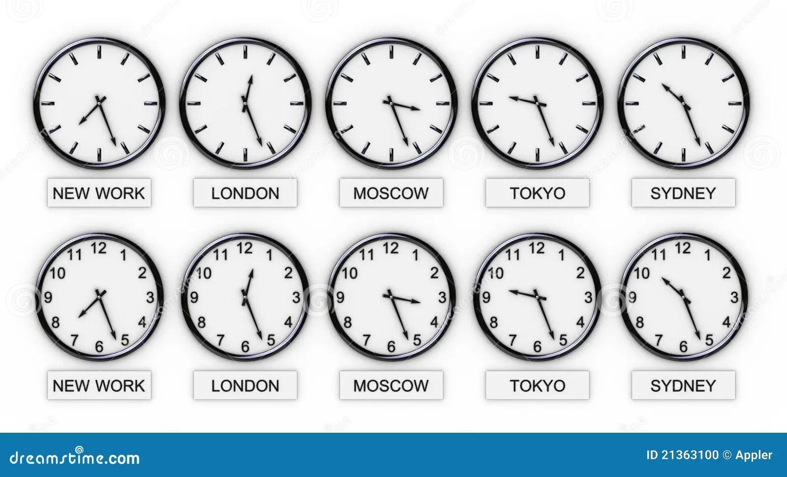 Le Monde Synchronise Le Temps Photo Stock
