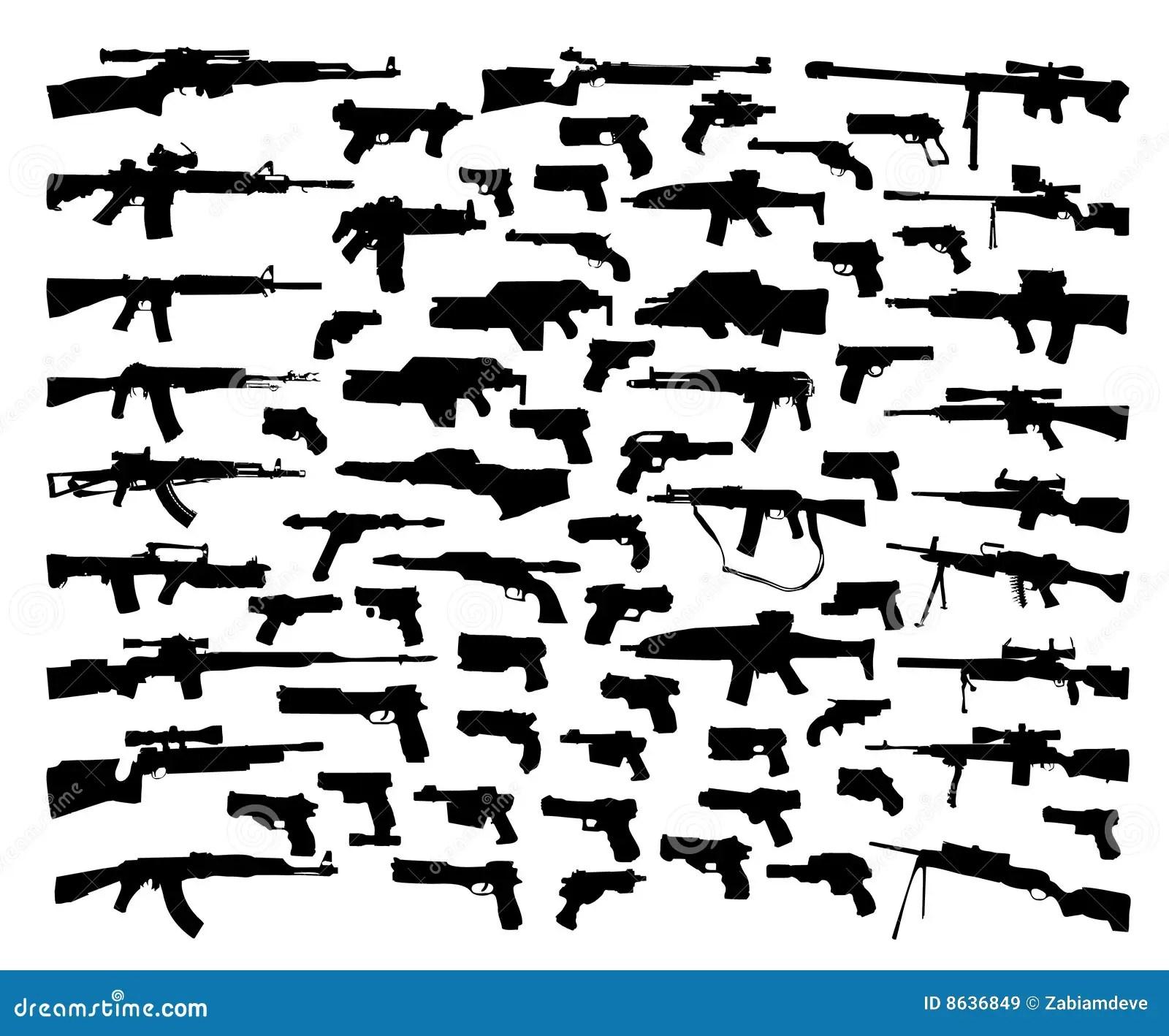 Collection De Vecteur De Silhouettes D Arme Illustration