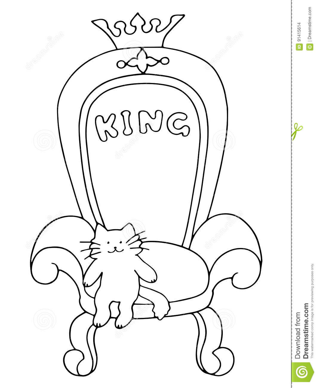 Leader A Cute Cat Sits On The Royal Throne Stock
