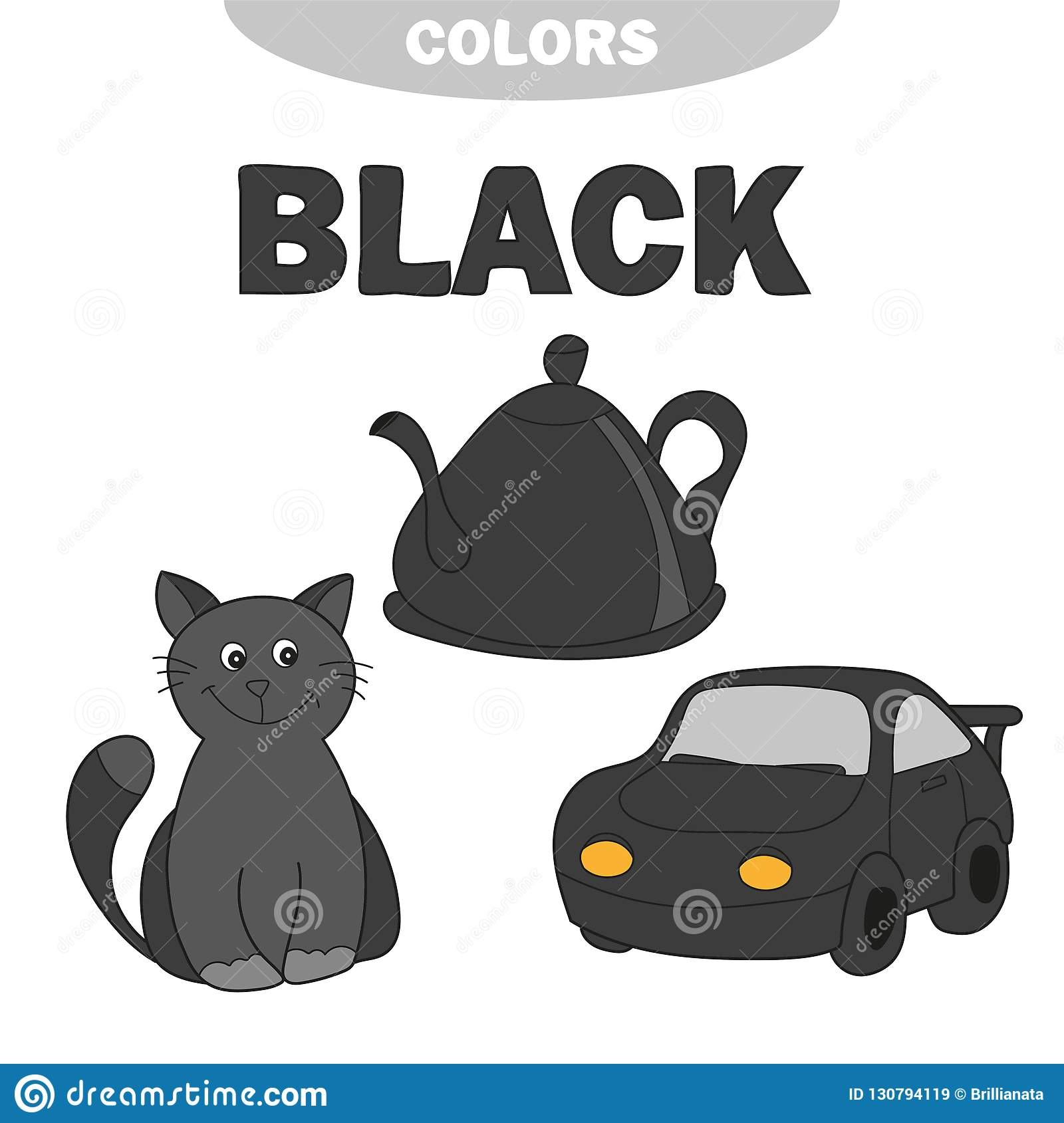 Learn Colors Worksheet Set For Kids Black Stock Vector