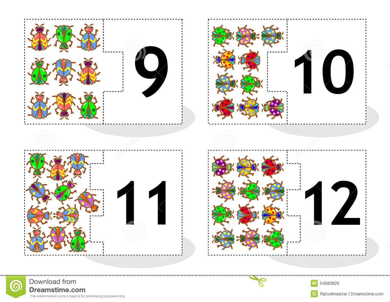 Learn Counting Puzzle Cards With Bugs And Beetles Numbers 9