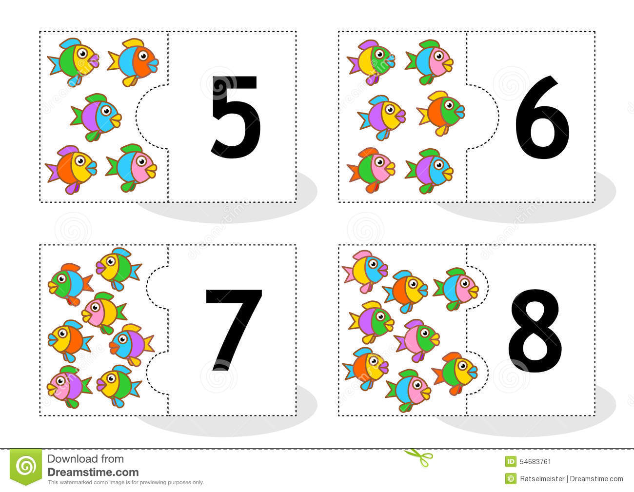 Learn Counting Puzzle Cards With Fish Numbers 5