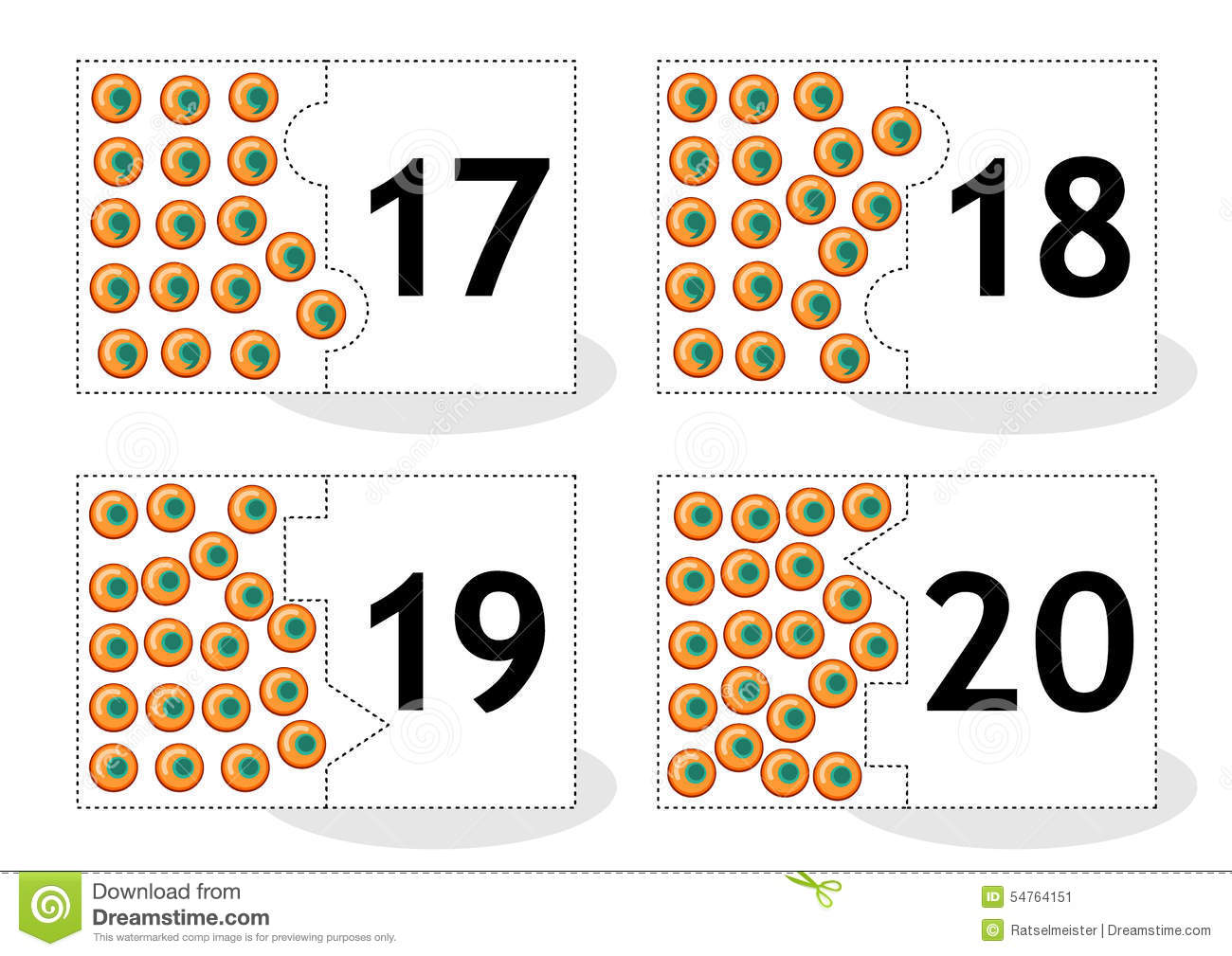 Learn Counting Puzzle Cards With Frog Eggs Numbers 17 20