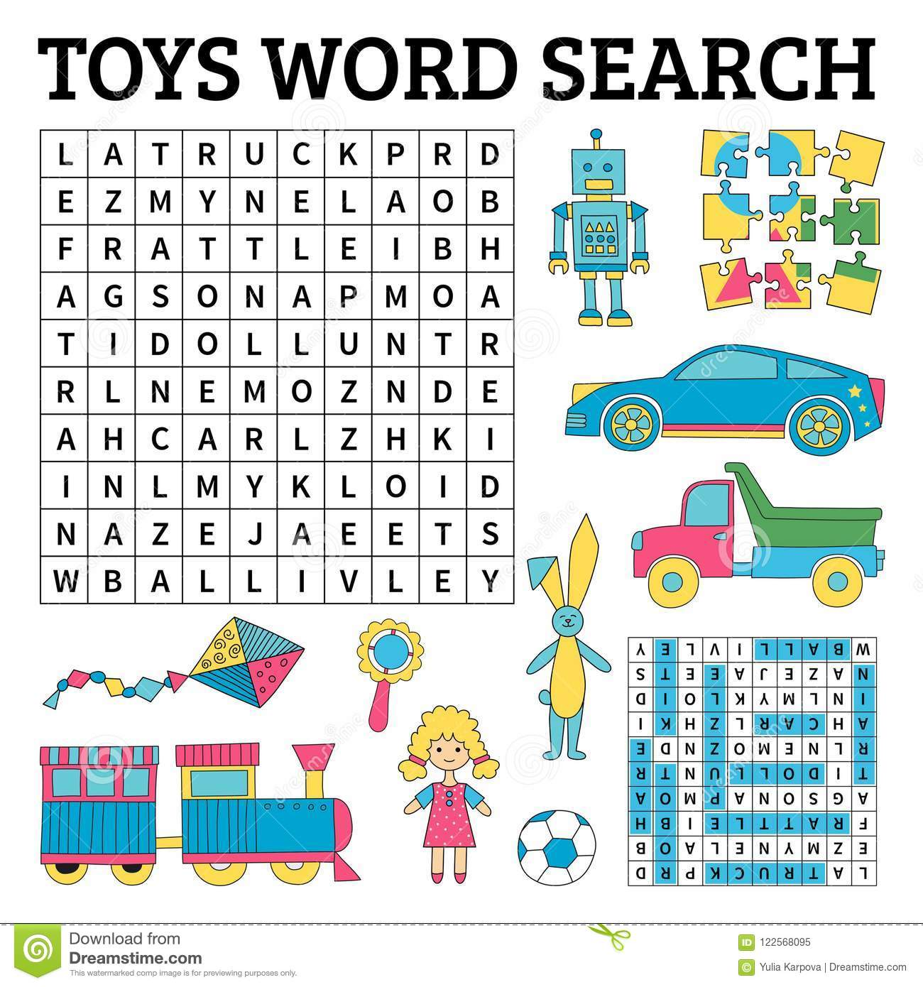 Toys Word Search Game For Kids Vector Illustration For