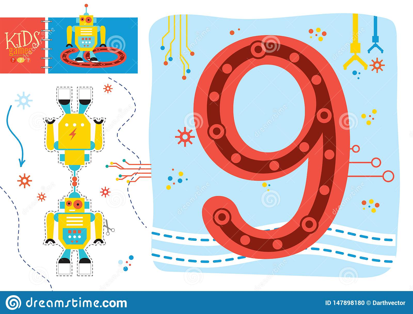 Learn How To Write Number 9 For Preschool Kids Vector