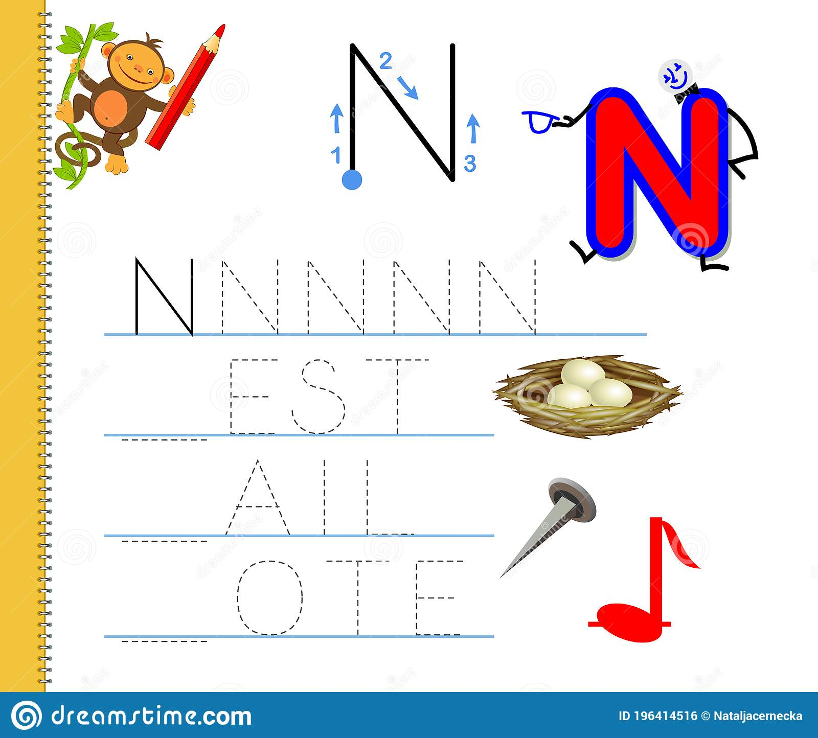 Learn To Trace Letter N Study English Words Worksheet