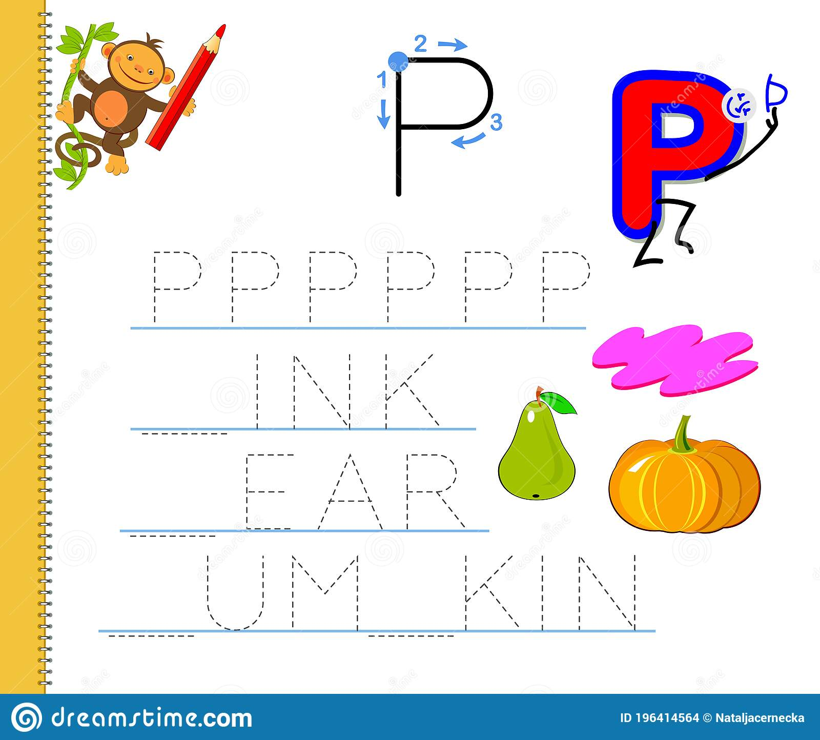 Learn To Trace Letter P Study English Words Worksheet