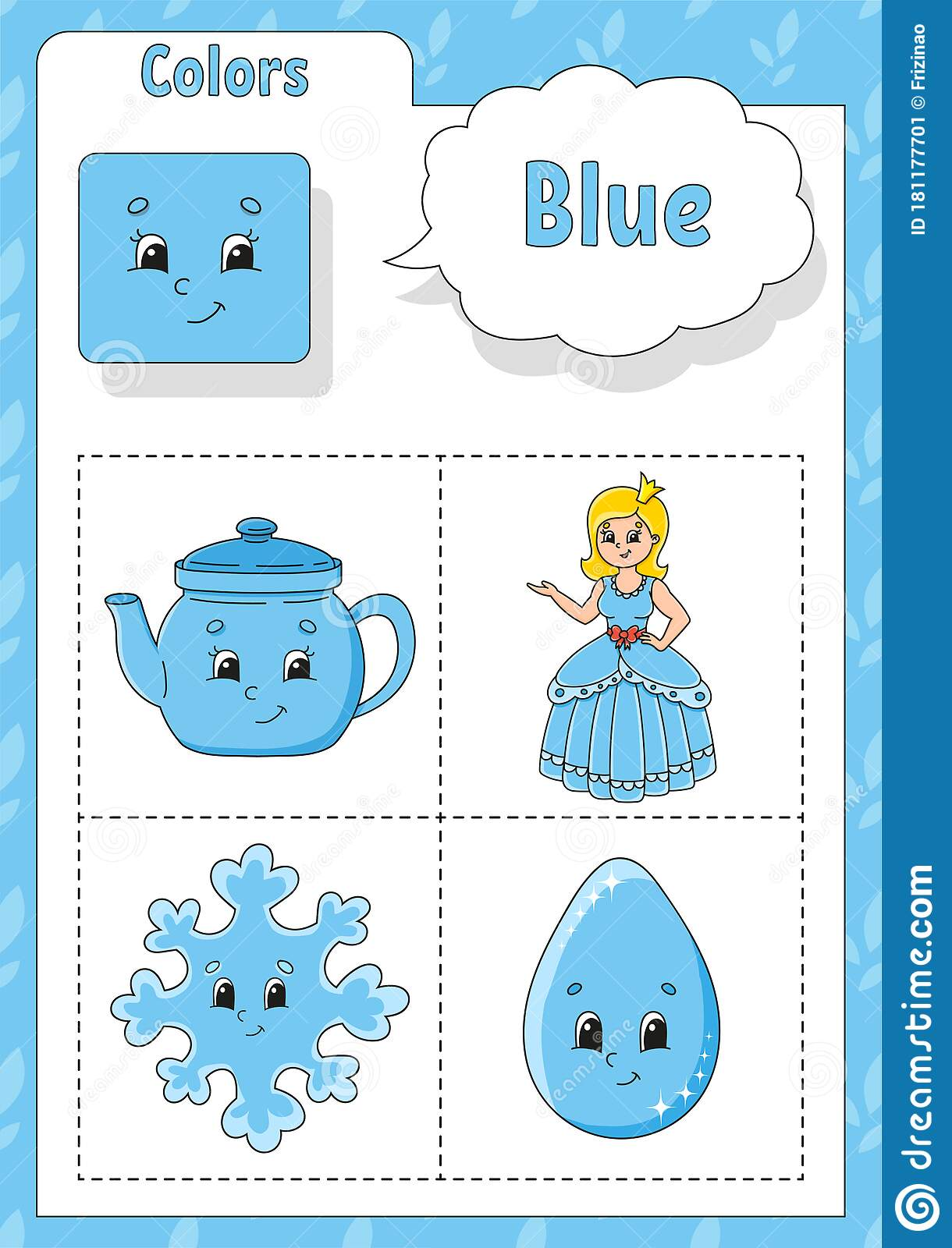 Learning Colors Blue Color Flashcard For Kids Cute