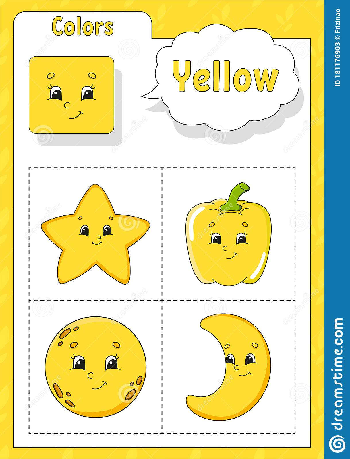 Learning Colors Yellow Color Flashcard For Kids Cute