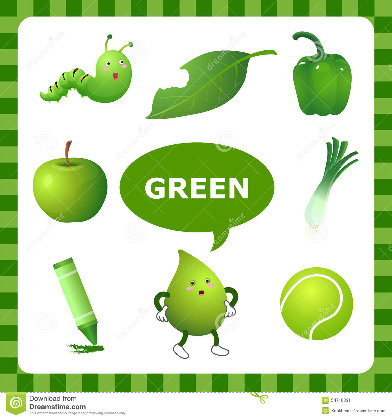 Learning Green Color Stock Vector Illustration Of Worm