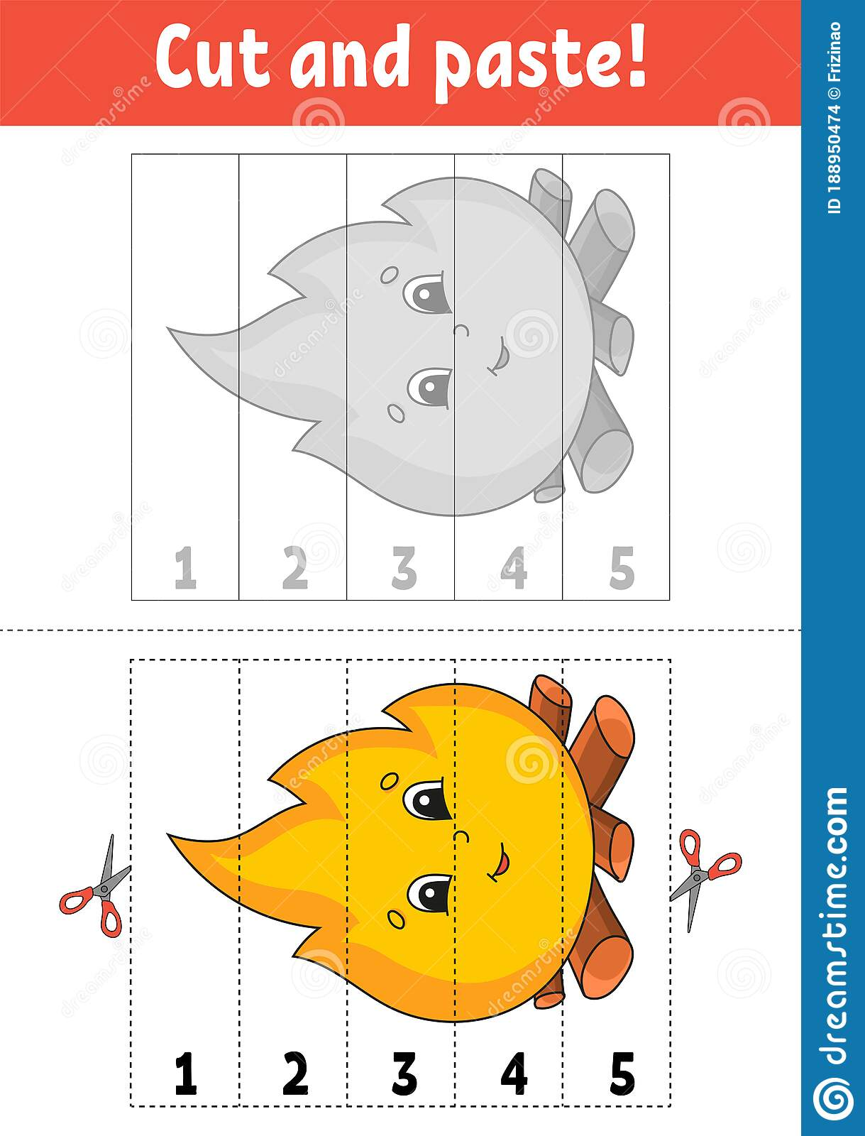 Learning Numbers 1 5 Cut And Glue Cartoon Character