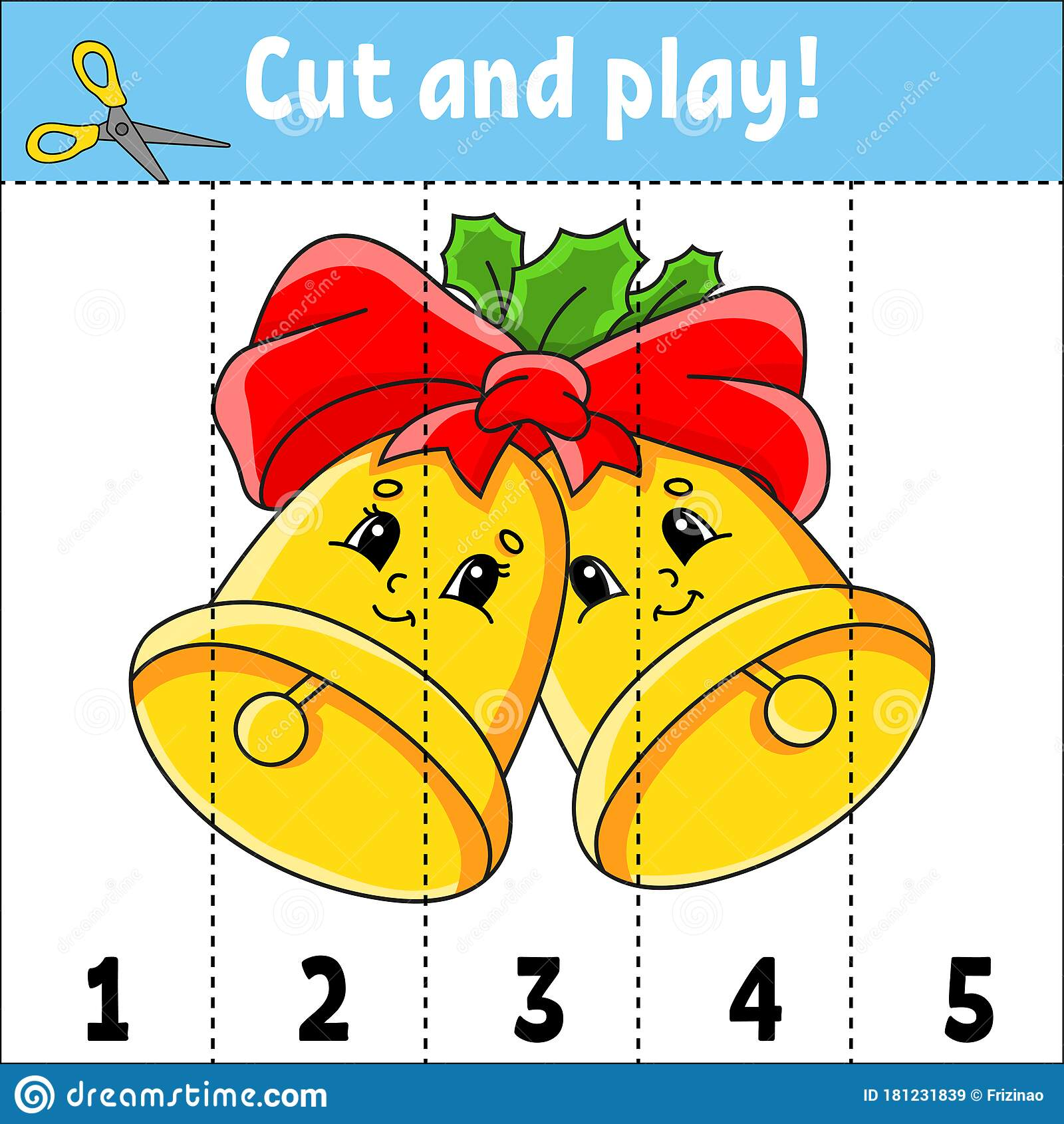 Learning Numbers 1 5 Cut And Play Christmas Bells