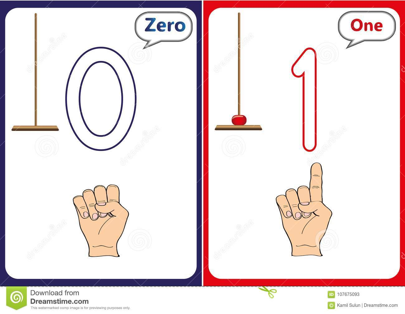 Learning The Numbers 0 10 Flash Cards Educational