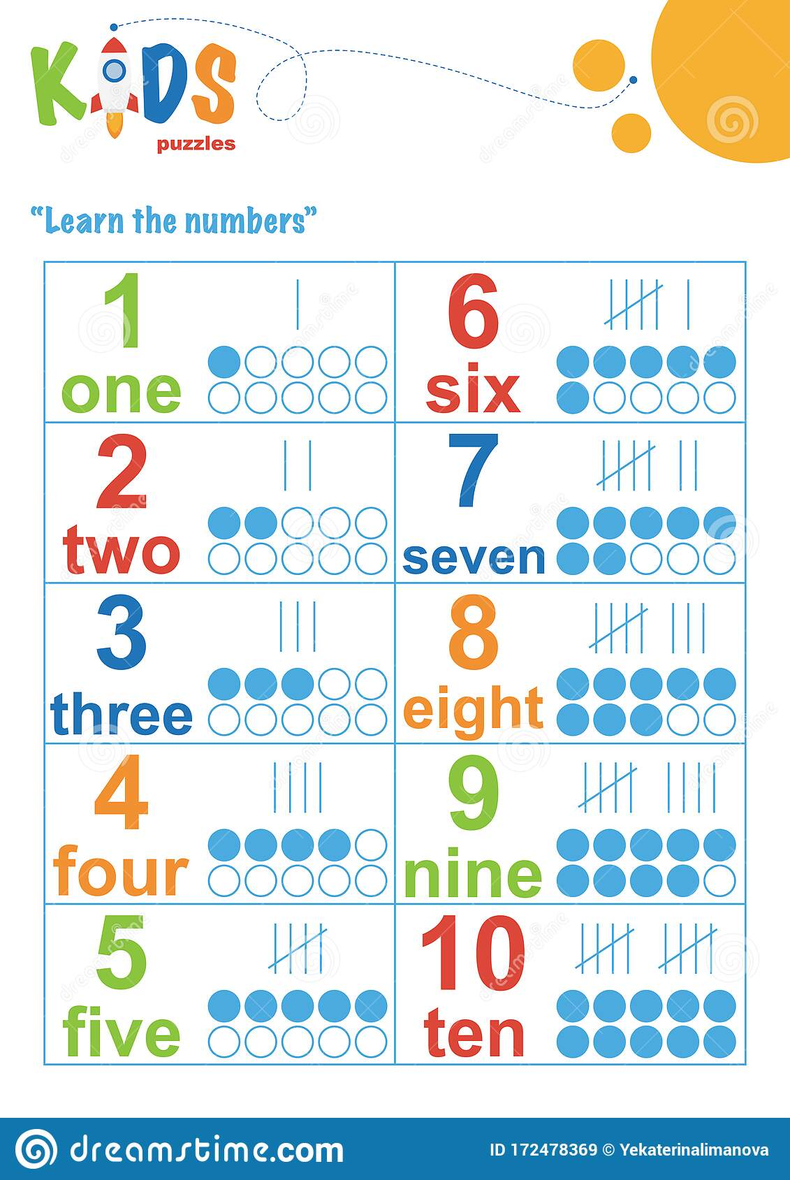 Learning Numbers Worksheet Math Worksheet Stock Vector